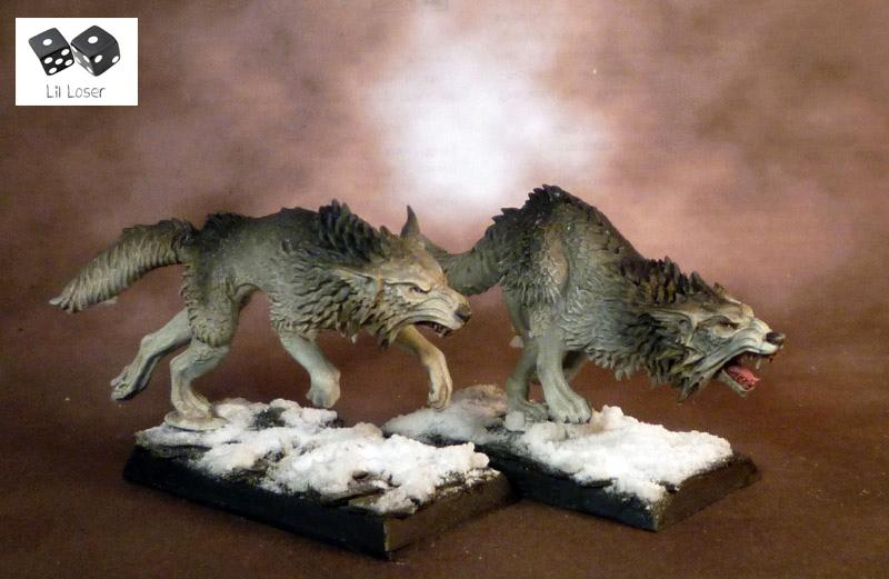 Dark Elves, Fenrisian Wolves, Painted, Snow, Space Wolves, Winter