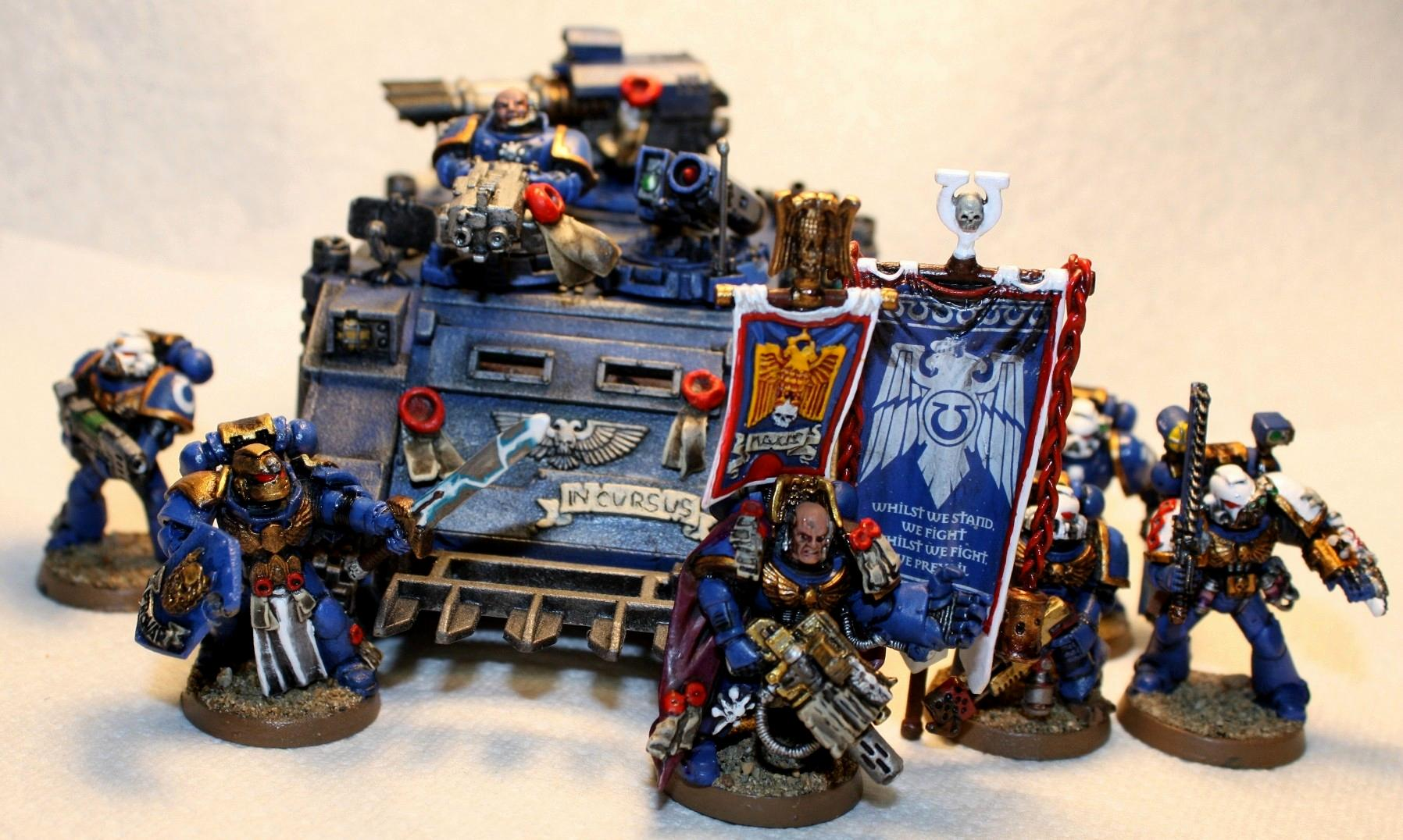 Banner, Captain, Command Squad, Powersword, Razorback, Space Marines, Ultramarines
