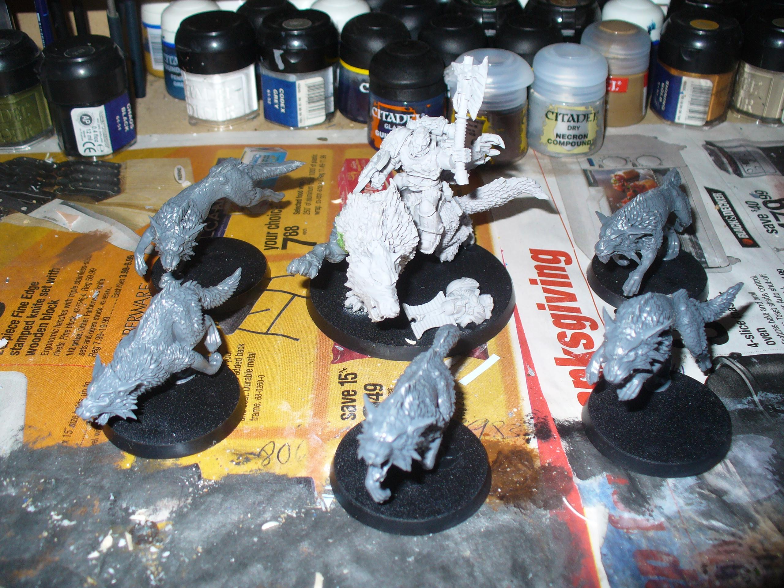 Wolf Lord with some Fenrisian wolves