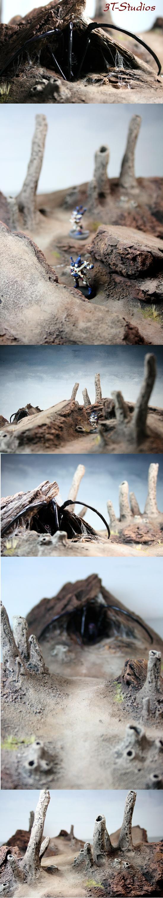 3t, Bug, Burrow, Fumarole, Scratch Build, Spider, Terrain, Wasteland, Web