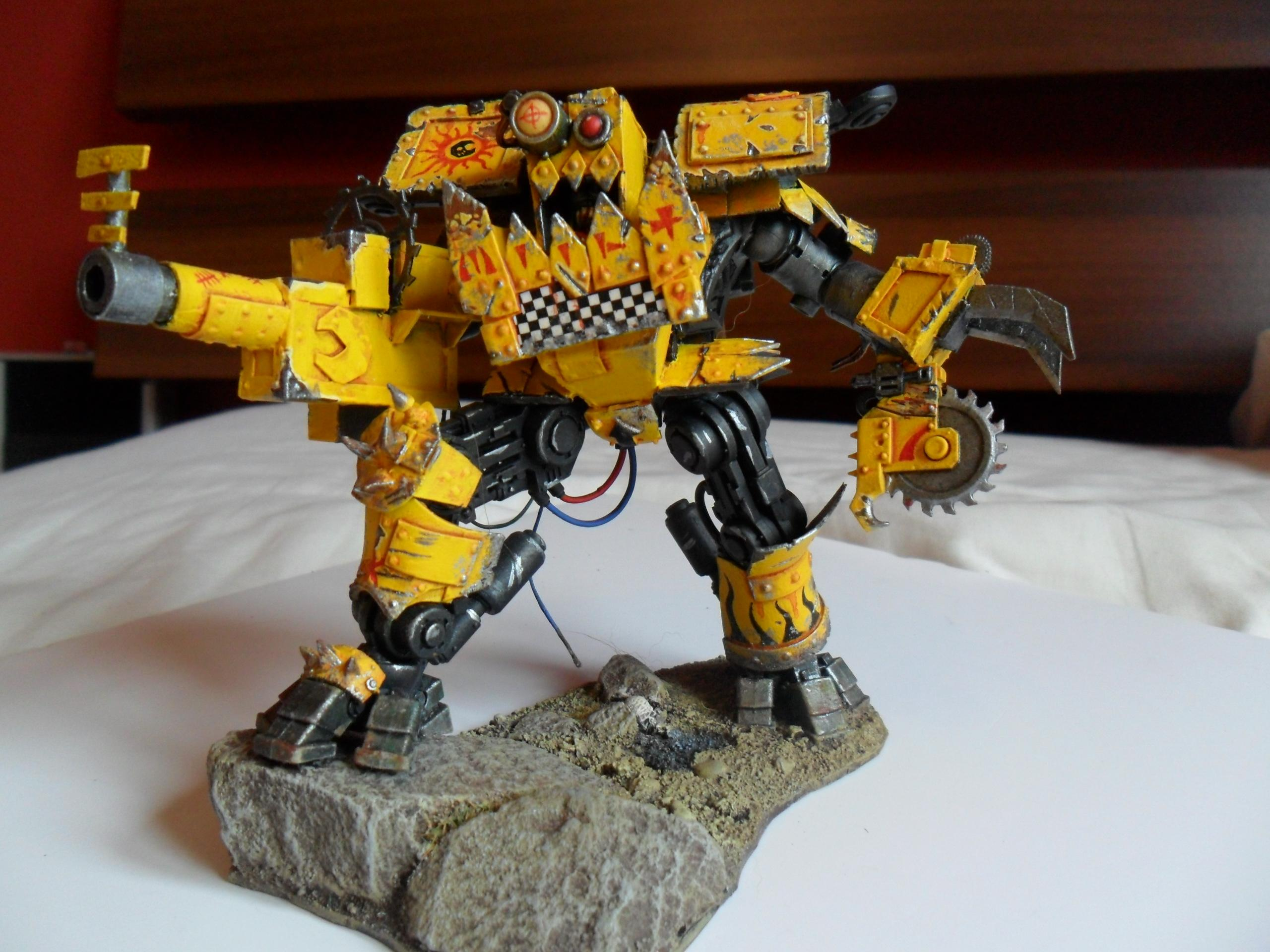 Badmoons, Deff Dread, Looted Riptide, Orks, Warhammer 40,000, Yellow