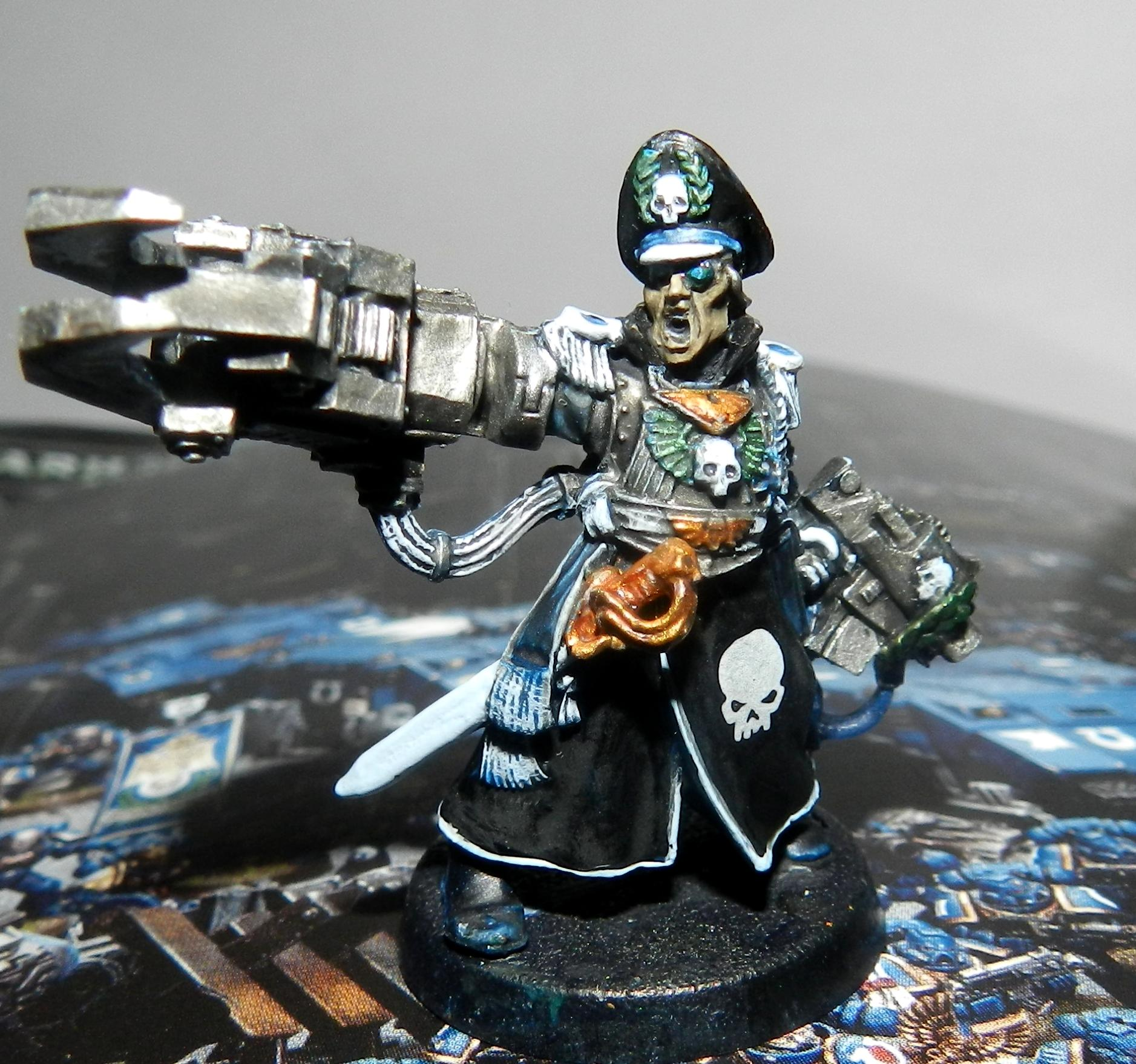 Carapace, Commander, Commissar, Headquarters, Imperial Guard, Lord Commissar, Power Klaw, Special Character, Storm Bolter, Warhammer 40,000, Work In Progress, Yarrick