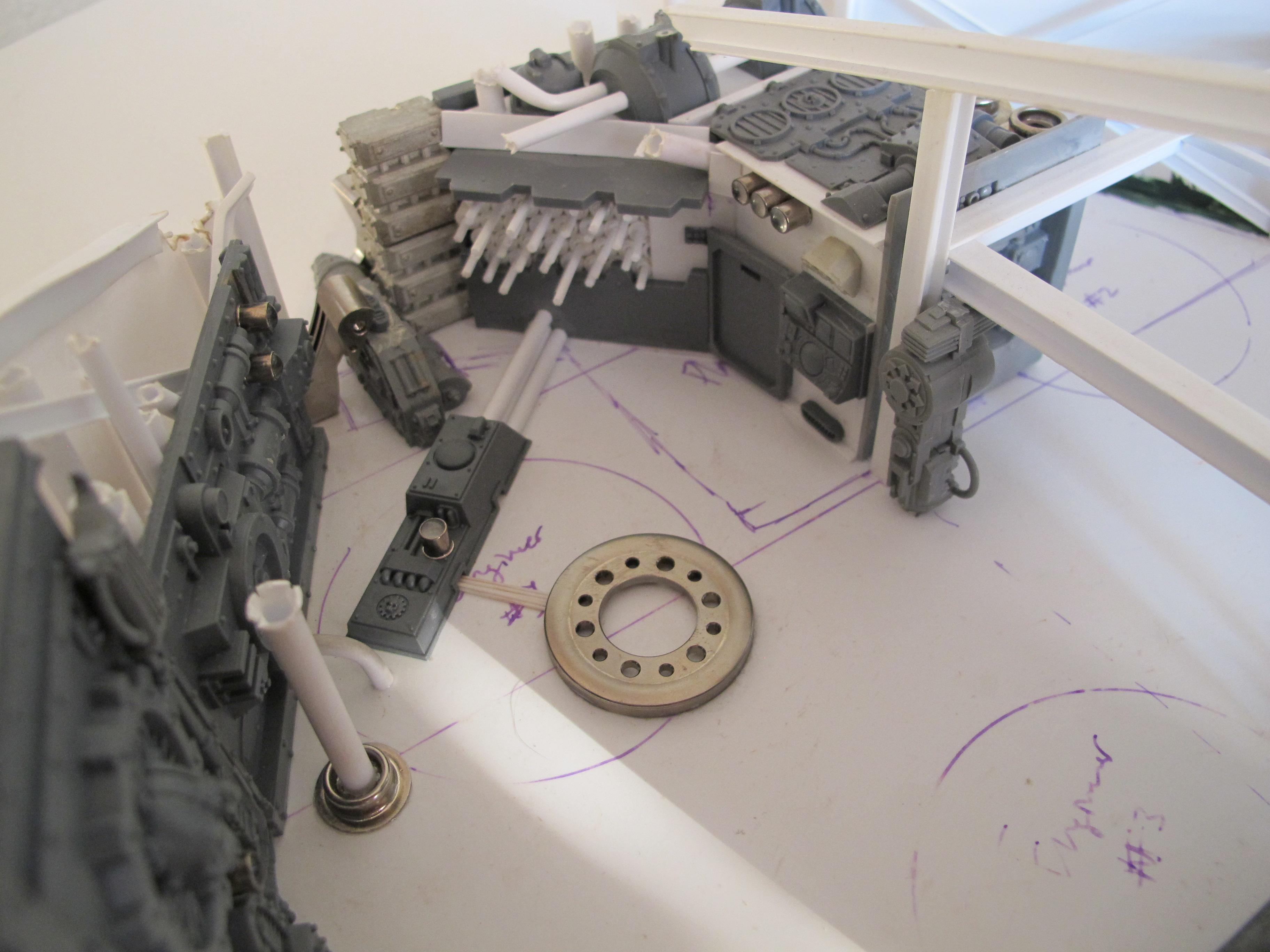 Chaos Space Marines, Crashed Spaceship, Death Guard, Greenstuff, Plasticard, Ship, Work In Progress