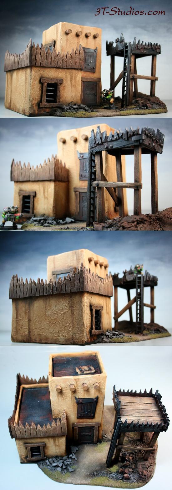Hut, Orks, Pueblo, Stucco, Terrain, Tower