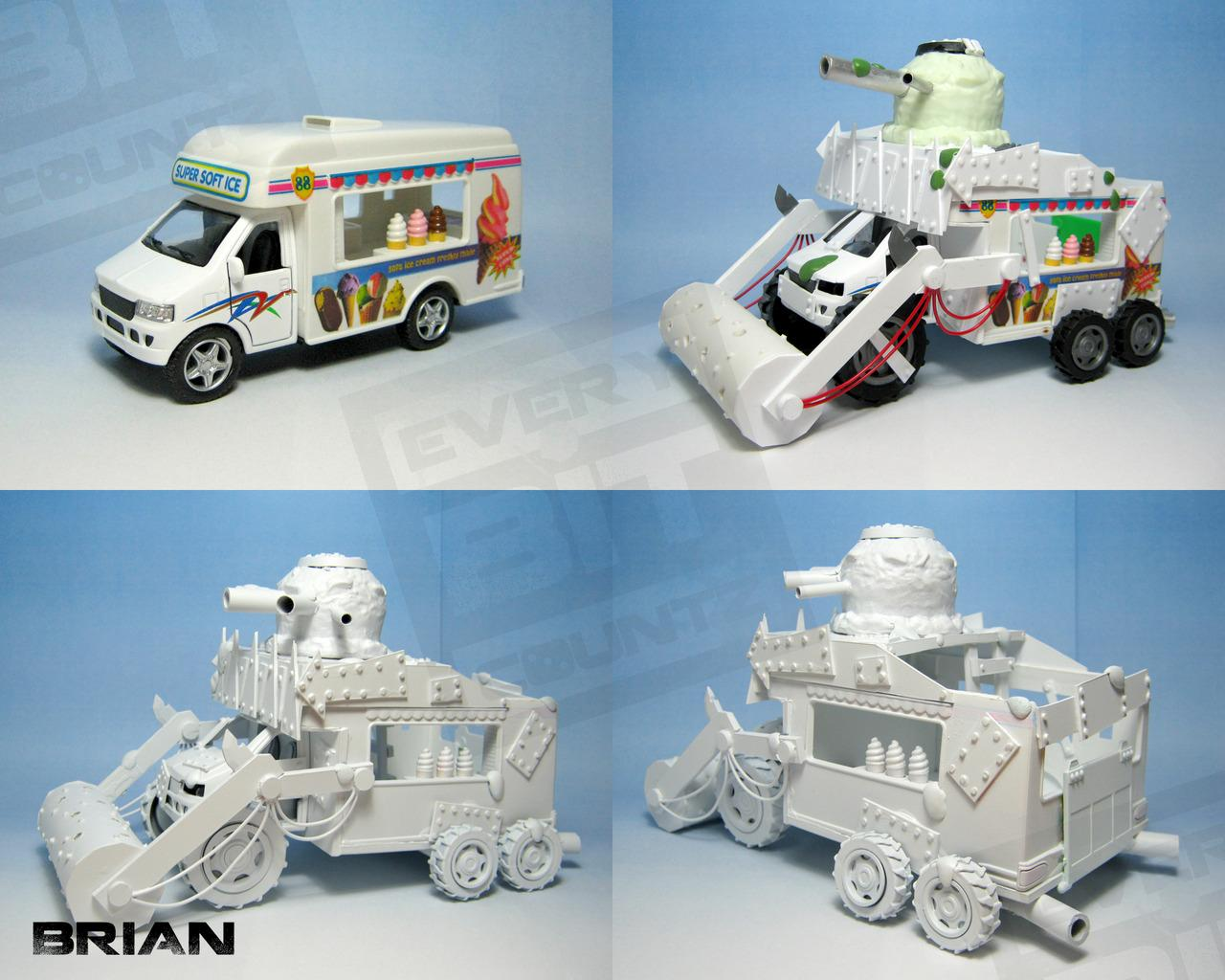 Battlewagon, Blue Skin, Deff Rolla, Every Bit Countz, Ice Cream Truck, Orks, Warhammer 40,000, Winter Orks, Work In Progress