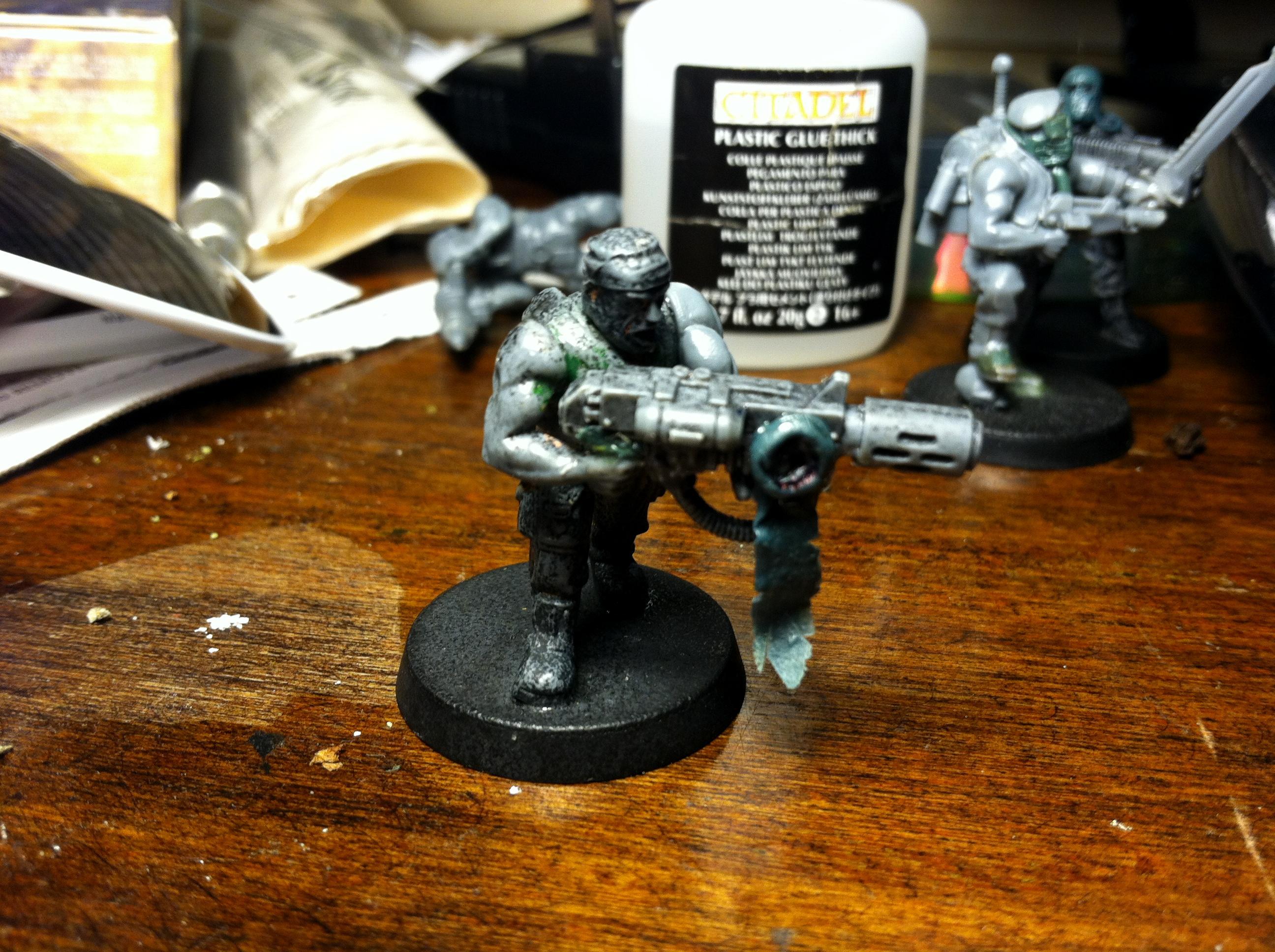 Catachans, Footguard, Gas Masks, Greenstuff, Imperial Guard, Jungle, Pig Iron, Troops, Work In Progress