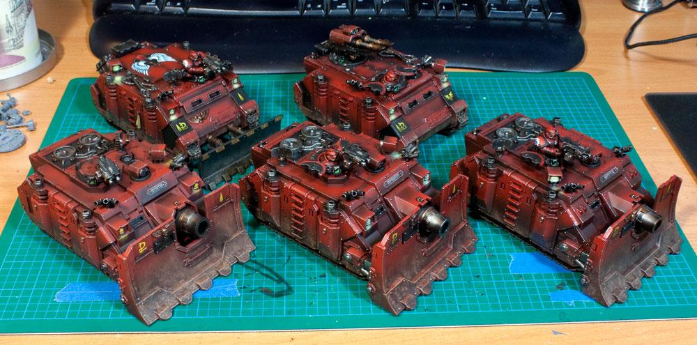 Blood Angels, Razorback, Red Armour, Rhino, Space Marines, Tank, Vindicators, Weathering Highlights