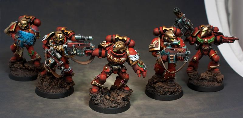 Airbrushed, Blood Angels, Bolters, Combi-bolter, Combi-plasma, Power Armour, Power Fist, Space Marines, Sternguard, Veteran, Warhammer 40,000