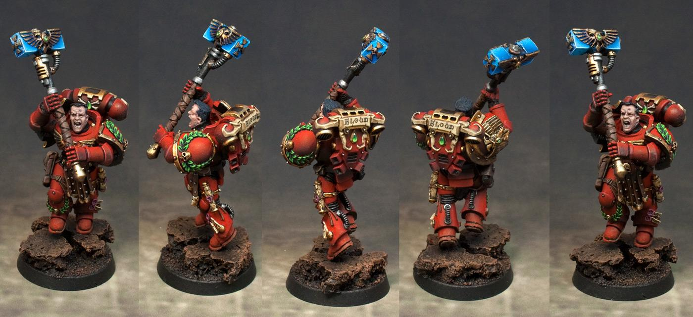Adeptus Astartes, Blood, Blood Angels, Captain, Space Marines, Thunder Hammer, Warhammer 40,000