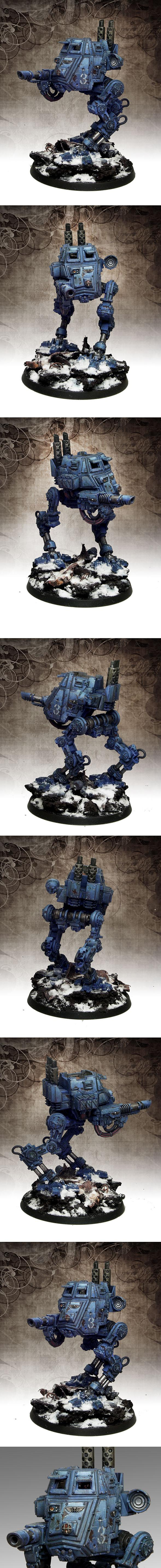 Armoured Sentinel, Imperial Guard, Sentinel, Snow Effect, Warhammer 40,000, Weathered