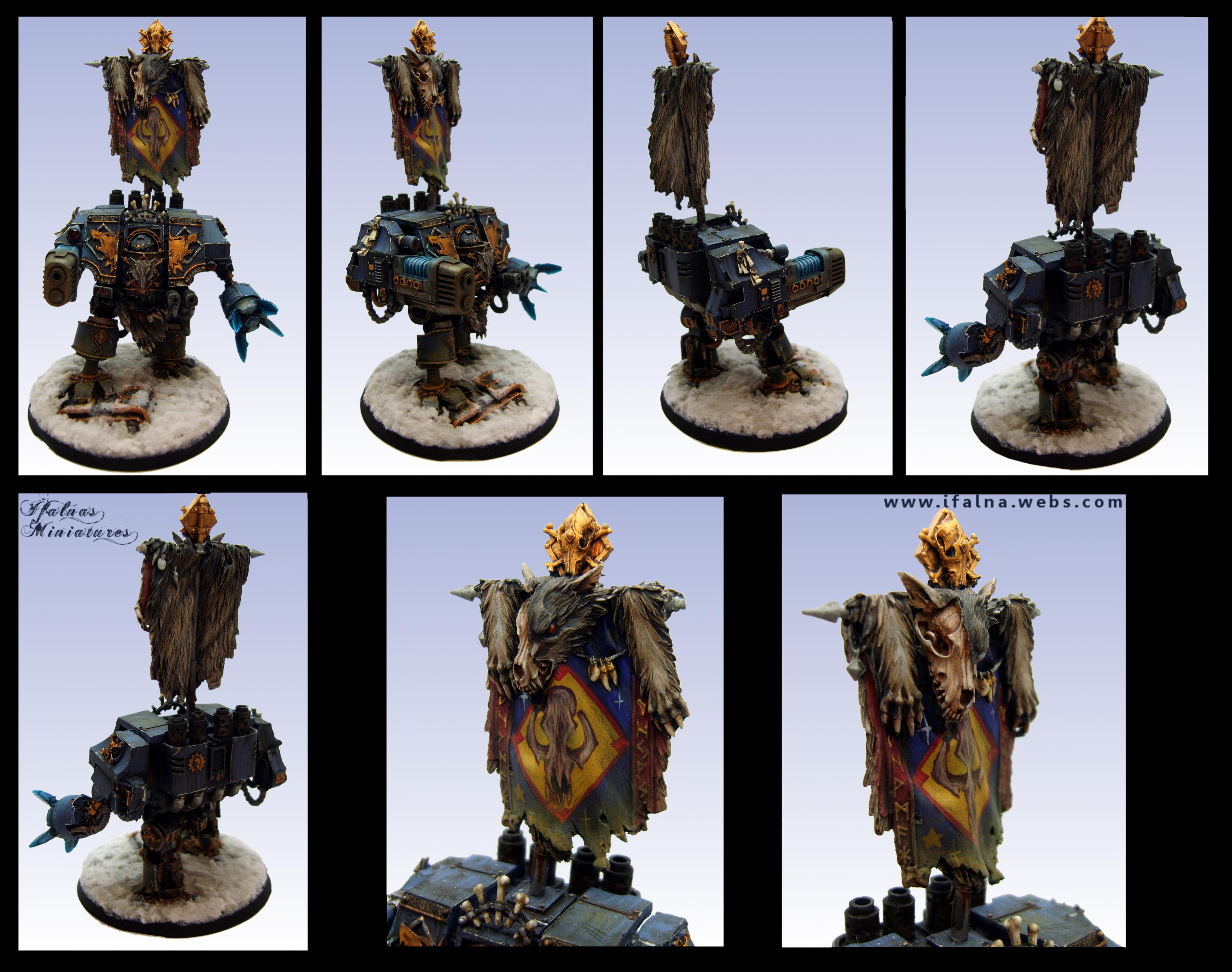 Airbrush, Banner, Bjorn, Conversion, Dreadnought, Dred, Snow, Space Marines, Space Wolves, Warhammer 40,000, Warhammer Fantasy, Weathered