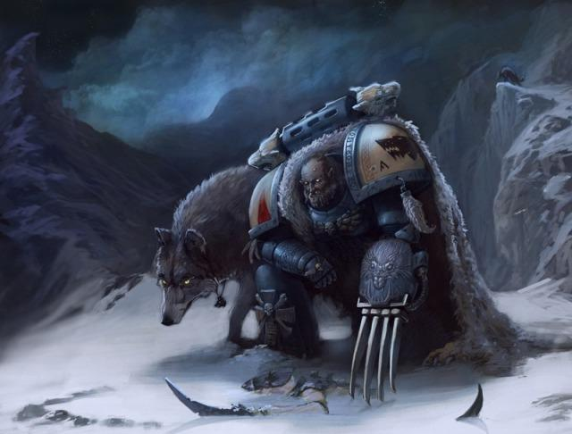 Artwork, Lightning Claws, Snow, Space Marines, Space Wolves, Wolf