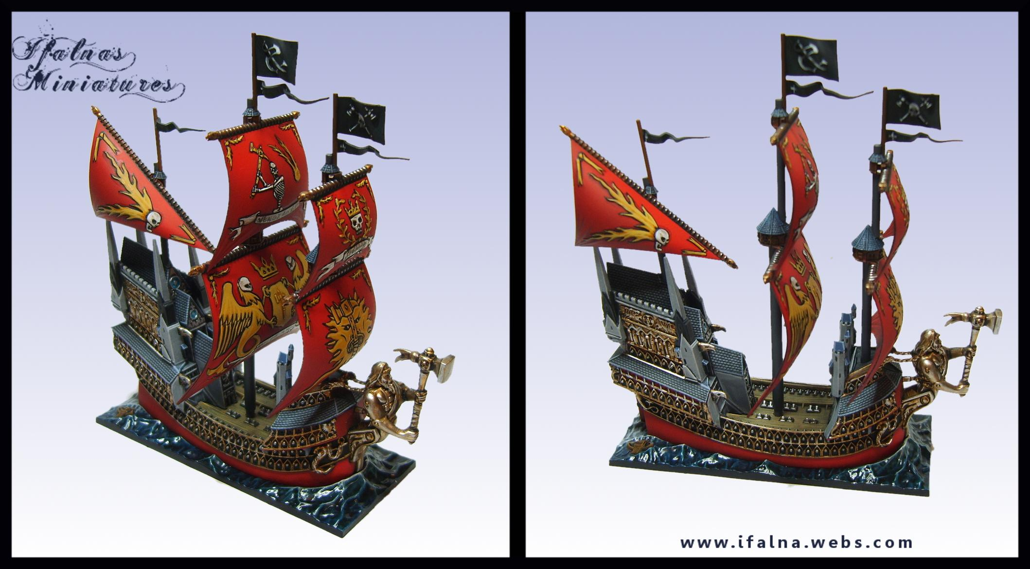 Boat, Dreadfleet, Flag, Games Workshop, Gold, Heldenhammer, Red, Sail, Sea, Ship, Water