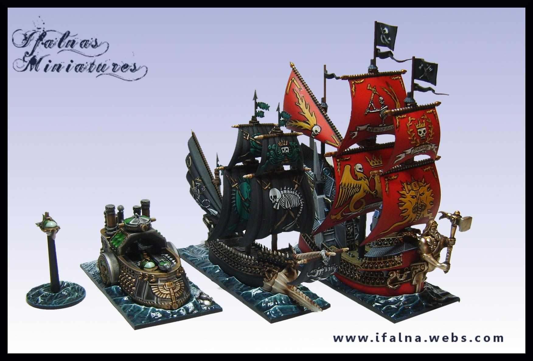 Black, Blimp, Boat, Dreadfleet, Flag, Games Workshop, Gold, Heldenhammer, Metal, Red, Sail, Sea, Ship, Swordfish, Thunder, Water