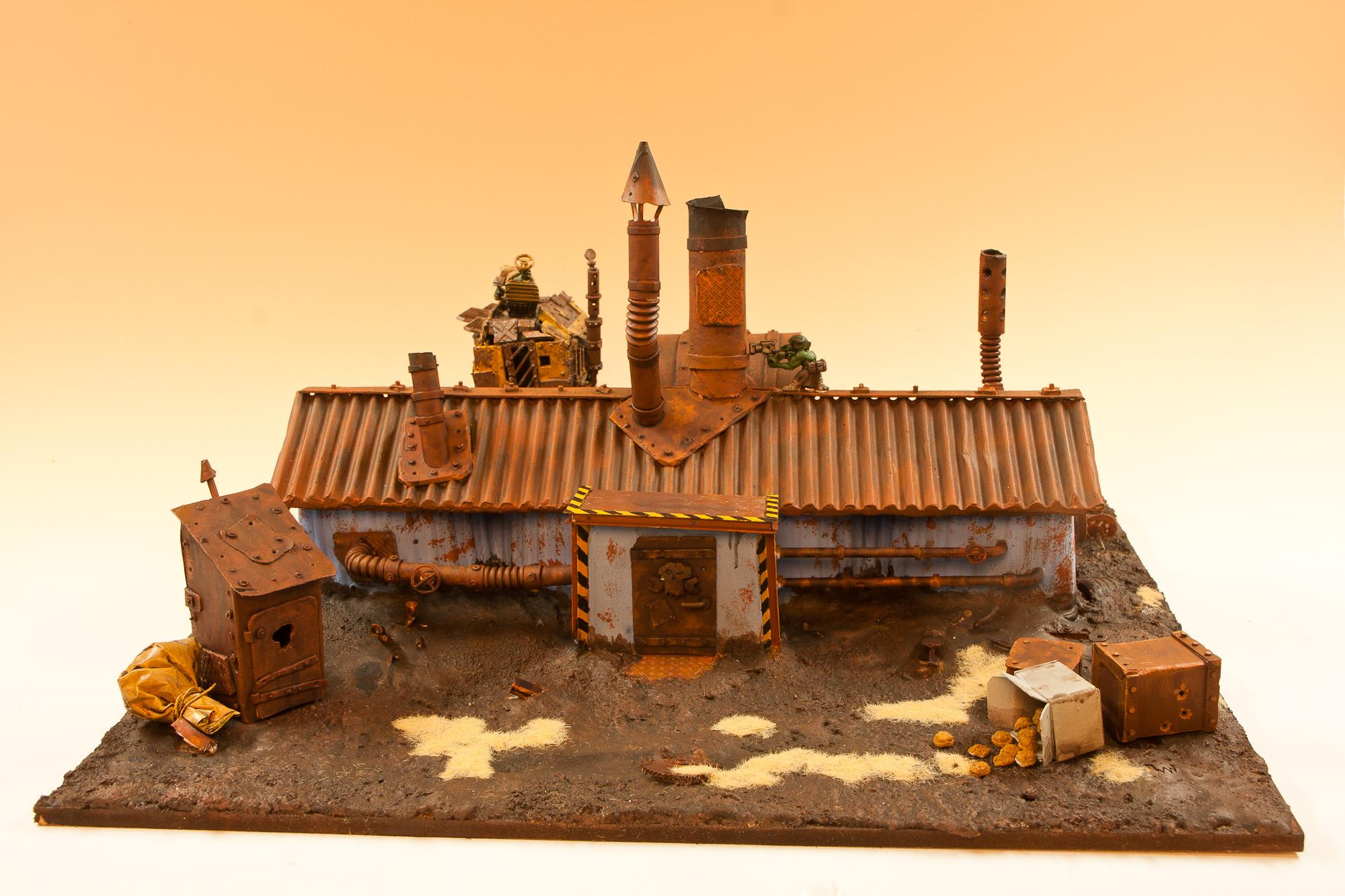 Buildings, Chimney, Competition, Cookie, Dirt, House, Orks, Outouse, Package, Rust, Scratch Build, Terrain, Toilet