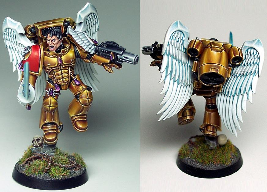 Blood Angels, Combi-melta, Jump Pack, Non-Metallic Metal, Power Sword, Sanguinary Guard, Winged