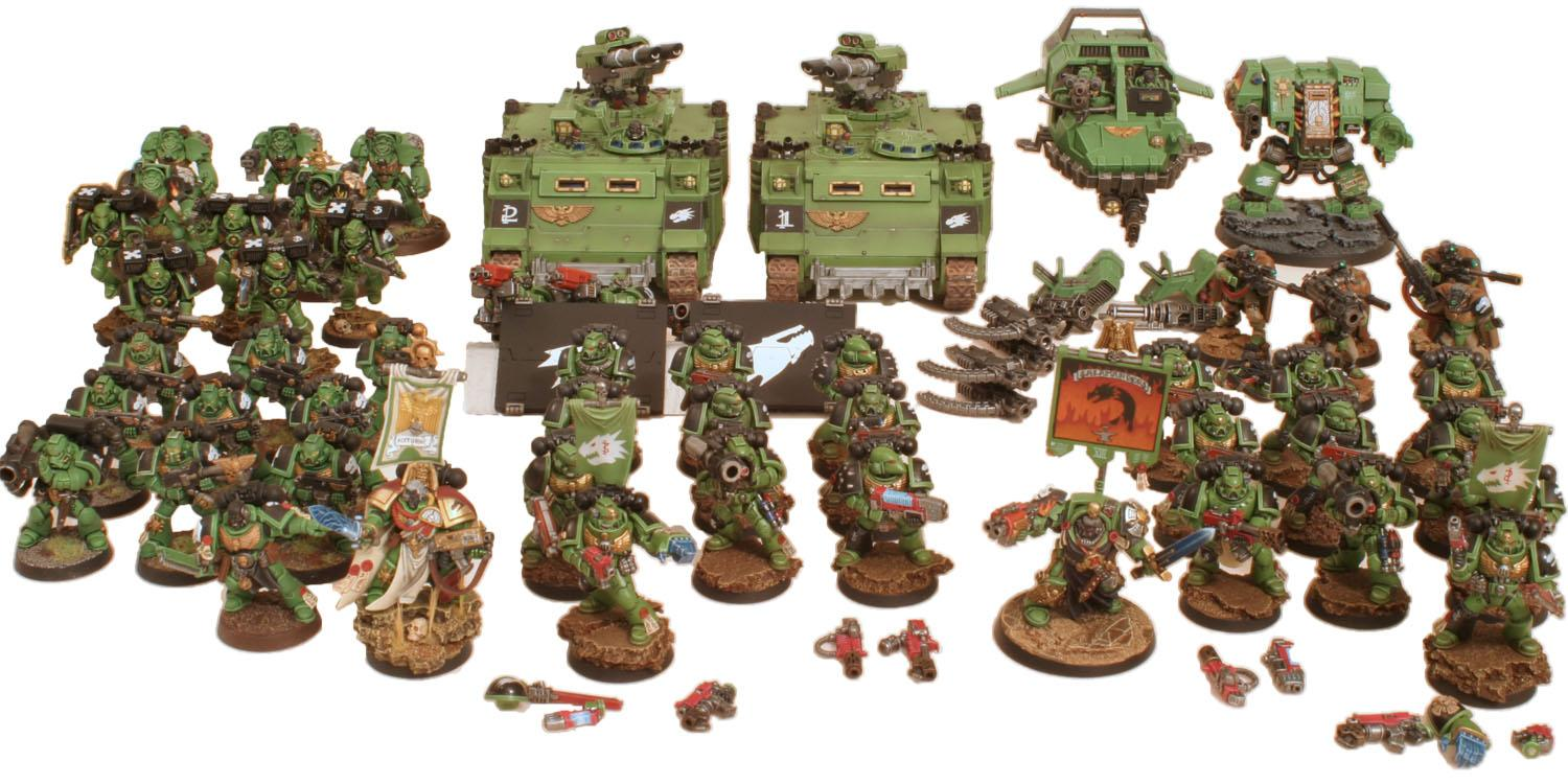 Army, Assault, Captain, Dreadnought, Land Speeder, Razorback, Rhino, Salamanders, Scouts, Tactical