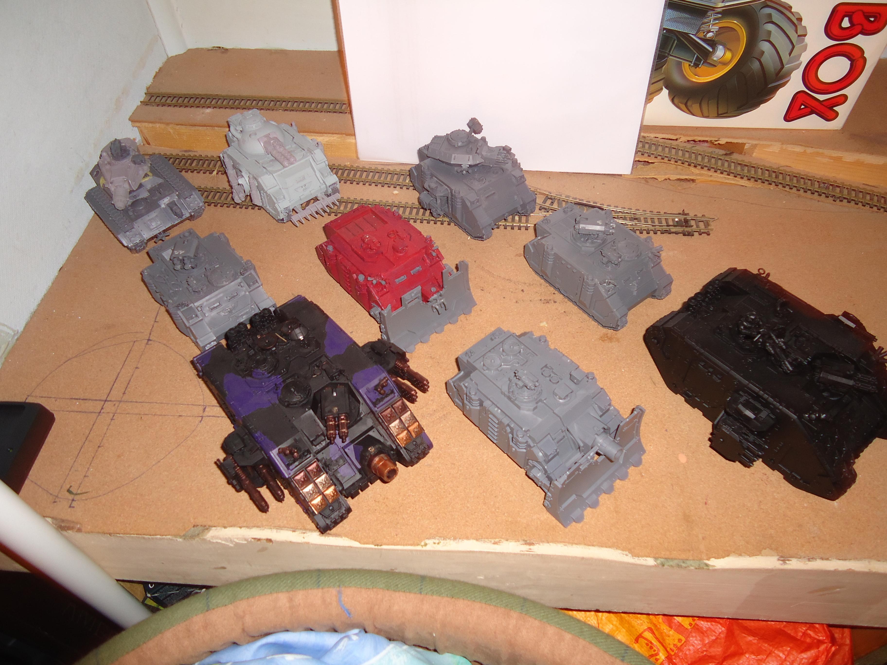 Ares, Crusader, Land Raider, Leman Russ, Razorback, Rhino, Techmarine, Vindicator