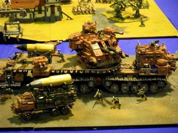 28mm, Artillery, Awesome, Background, Baneblade Bitz, Big Gunz, Bits, Bomb, Custom, Da Red Wunz Go Fasta, Gun Wagon, Gunwagon, Looted, Orkified, Orks, Orky, Painted, Red, Scratch Build, Shack, Shell, Terrain, Tracks, Trees, Trukk, Waaagh!, Warhammer 40,000, Wheels