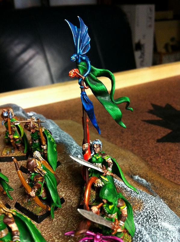 Archers, Banner, Elves, Forest, Trees, Warhammer Fantasy, Wood