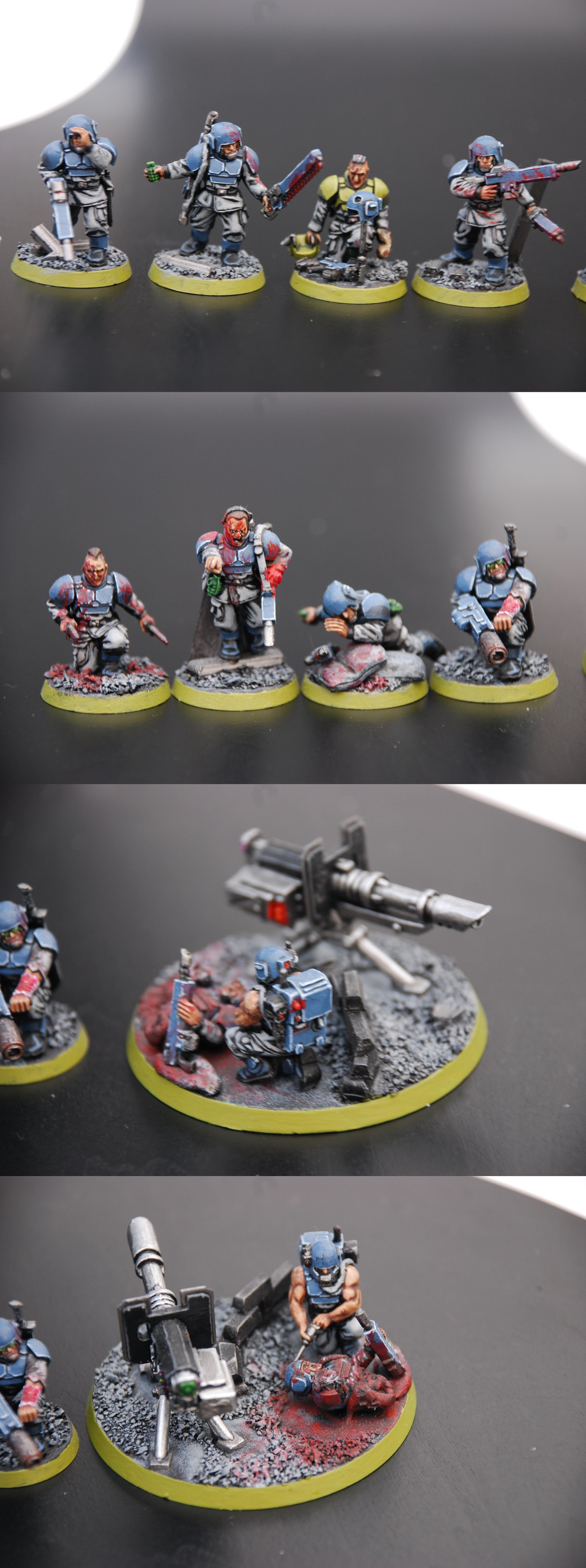 Guardsmen, Imperial Guard, Infantry, Infantry Squad, Lascannon, Meltagun, Troops, Warhammer 40,000, Wounded