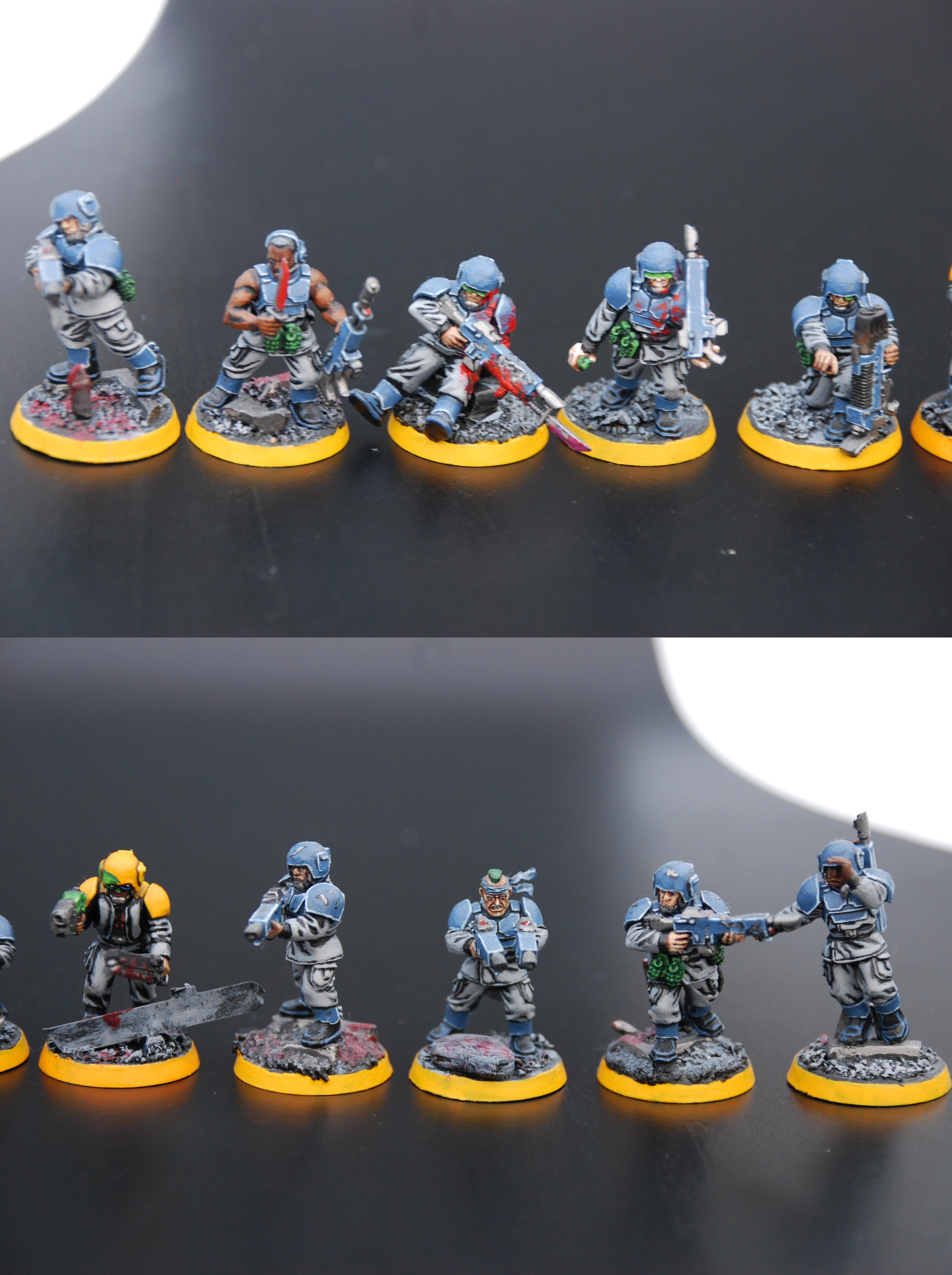 Guardsmen, Imperial Guard, Infantry, Infantry Squad, Object Source Lighting, Plasma Gun, Troops, Warhammer 40,000, Wounded