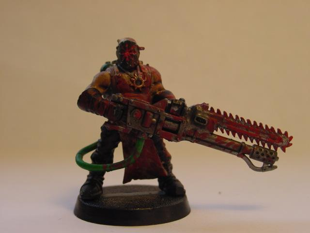 Cultist with added chainsword on the flamer