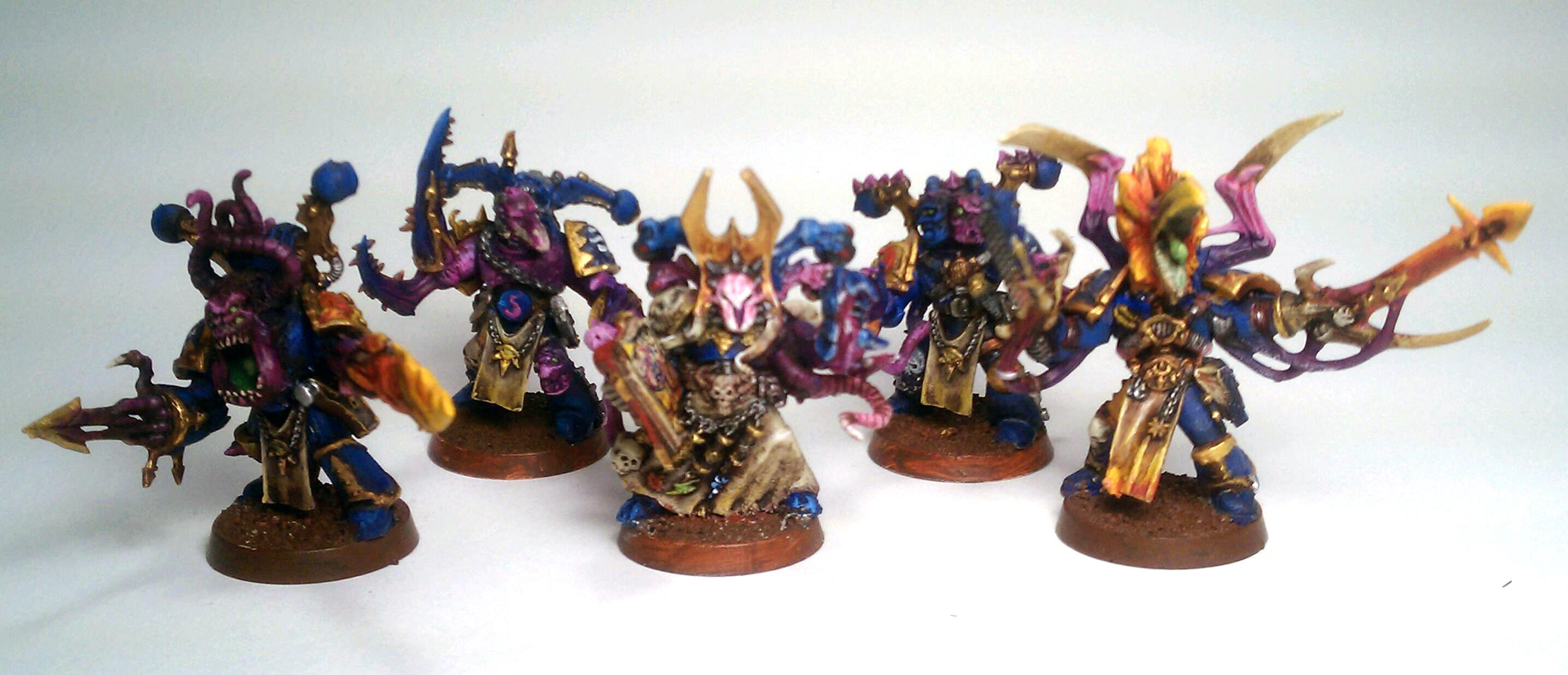 Chaos, Chaos Space Marines, Conversion, Daemons, Flamers, Pink, Pink Horror, Possessed, Possessed Chaos Space Marines, Sorcerer, Thousand Sons, Tzeentch