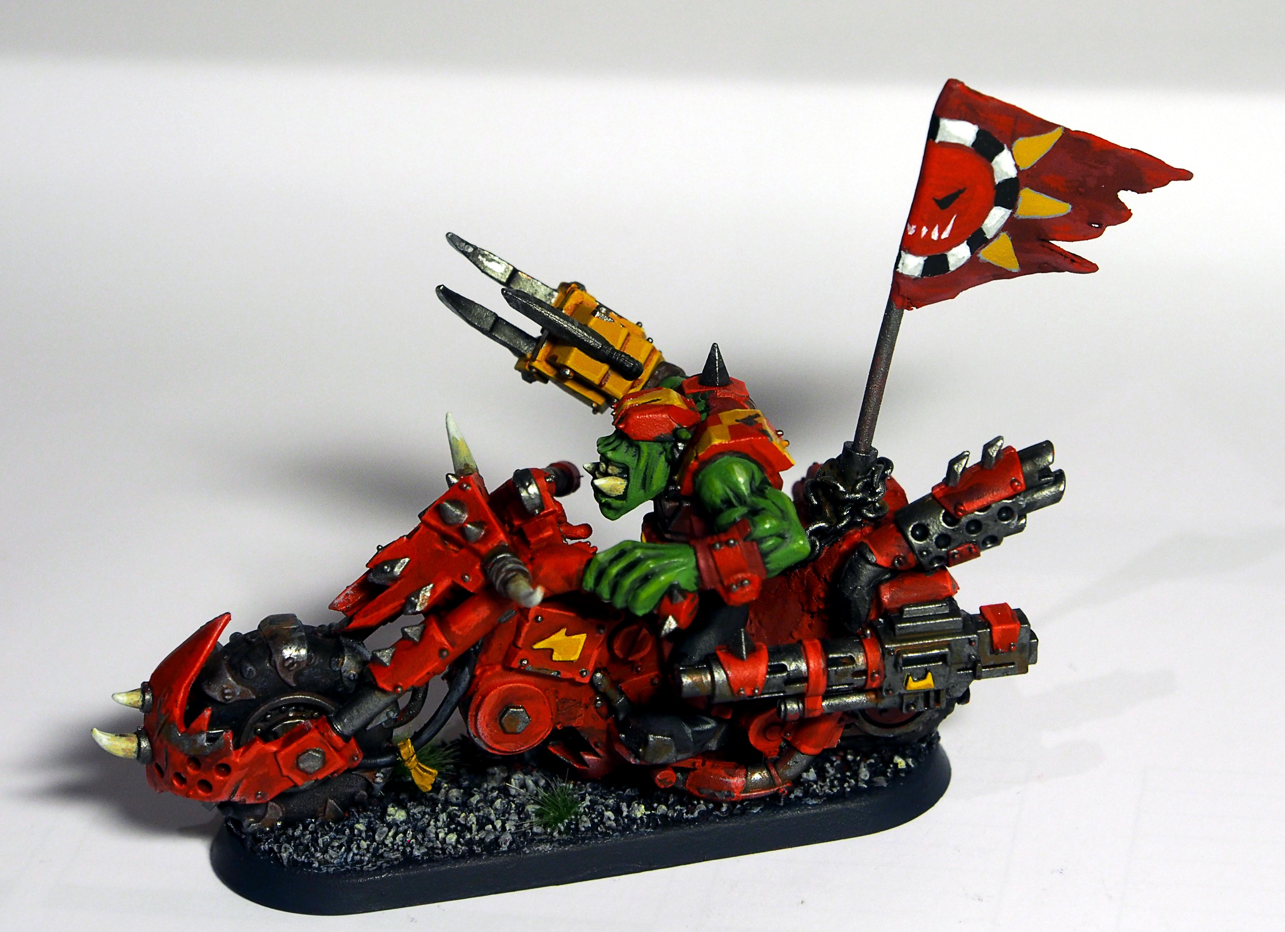Bike, Evil Suns, Evil Sunz, Flag, Freehand, Orks, Red, Warbikers