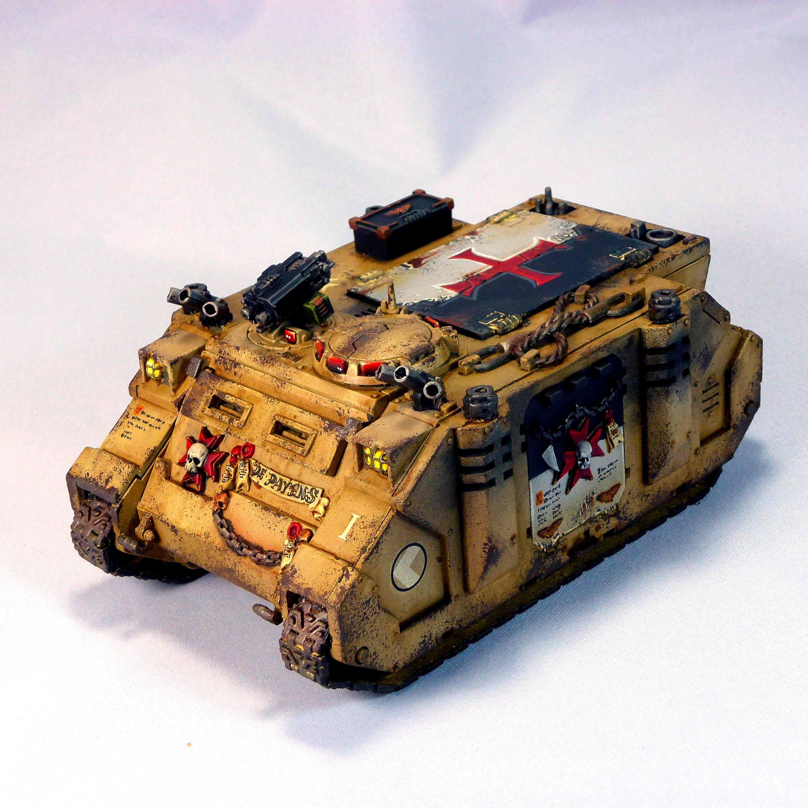 Desert, Knights, Lascannon, Razorback, Rhino, Sand, Space, Space Marines, Tan, Tank, Templar, Vehicle, Weathered, Yellow
