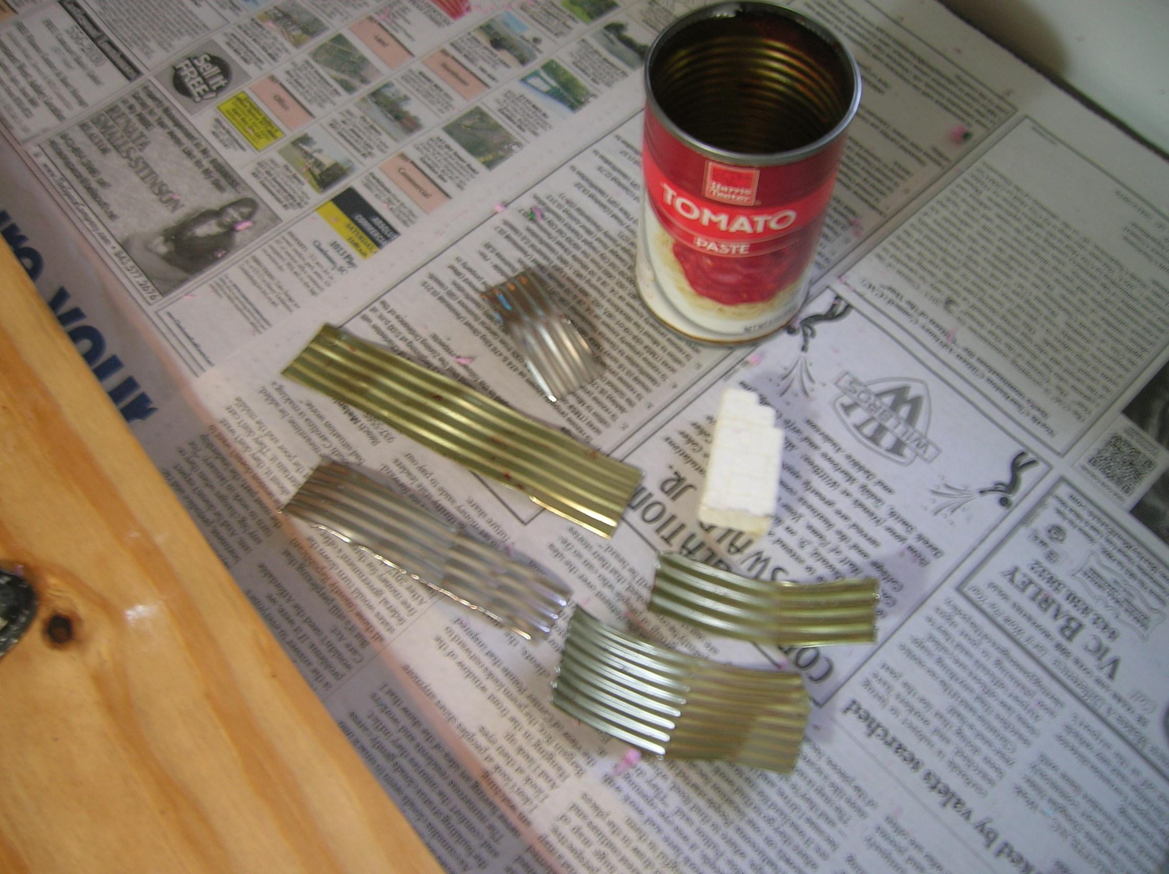 cut up soup cans make great corrogated metal