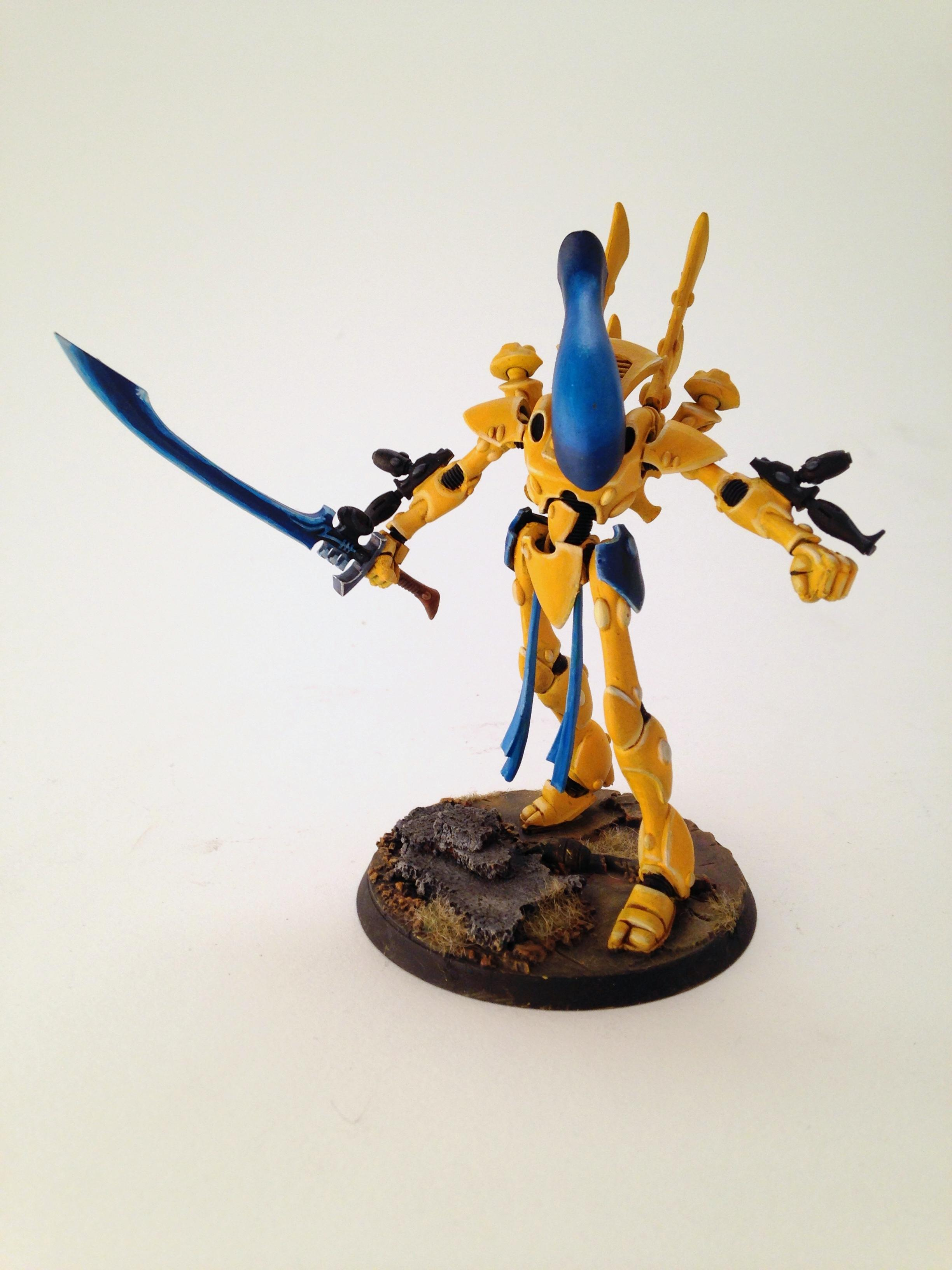Eldar, Great Pose, Wraithlord, Yellow Done Correctly