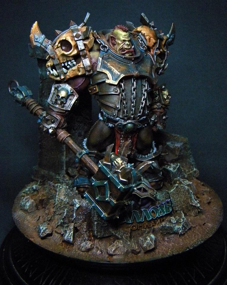 Non-Metallic Metal, Orks, Plate Armor, Ruin Base, Warboss, Warhammer Fantasy