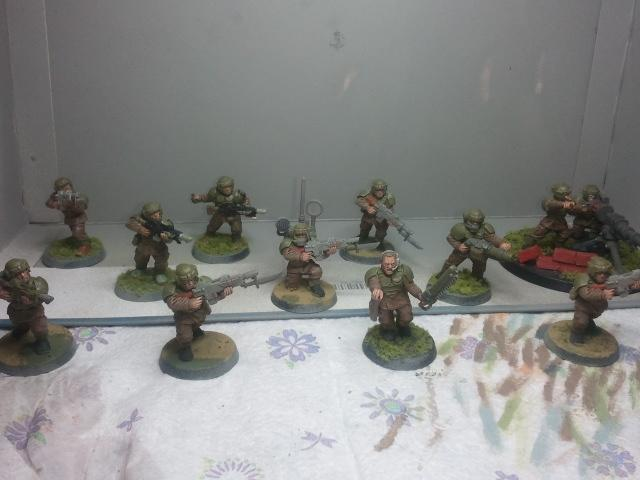 The complete squad ready for action! They look great I do declare. So much better than gray plastic