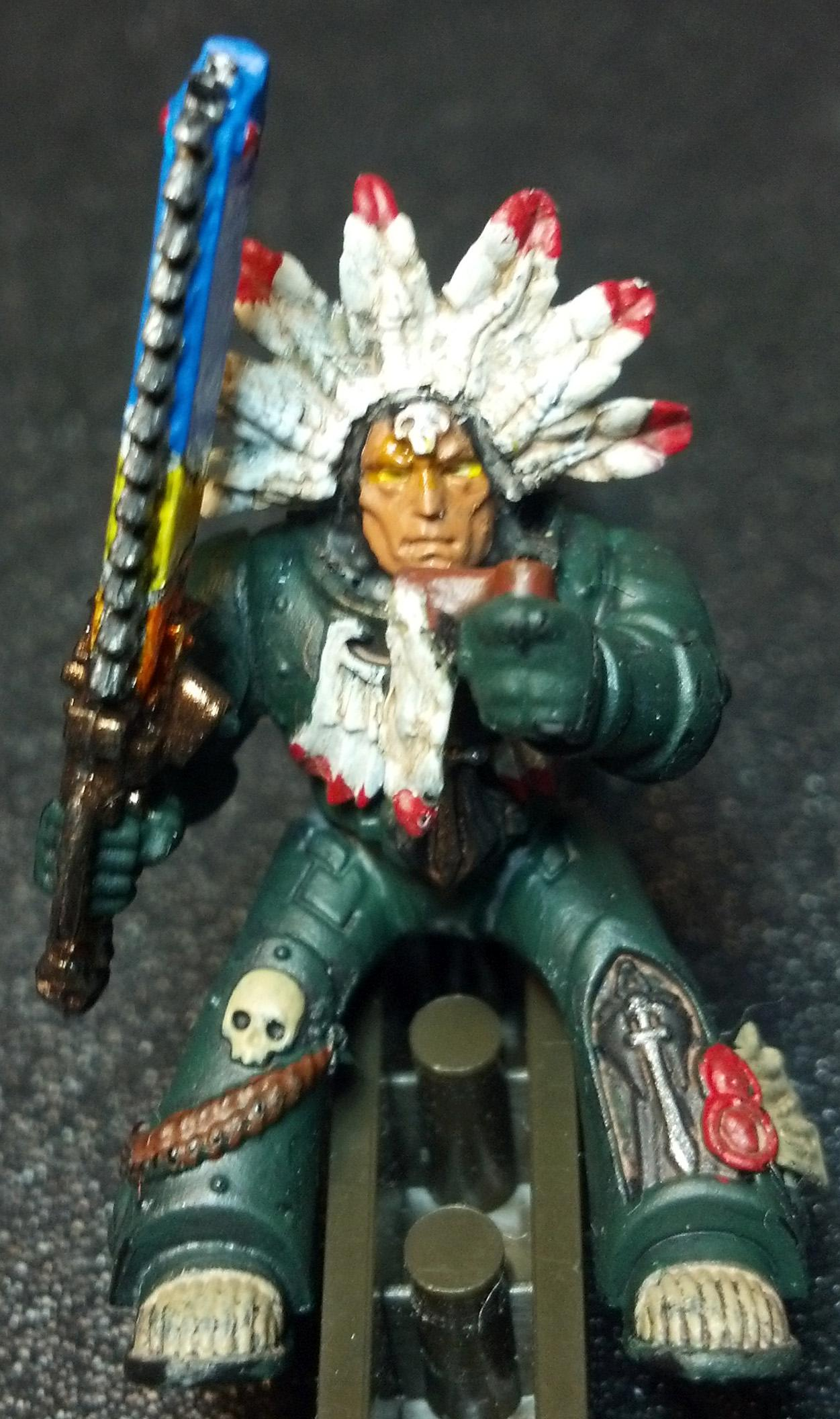 Army, Battle, Ceremony, Dark Angels, Feathers, Future, Imperium, Indian, Military, Native American, Ritual, Space Marines, Warhammer 40,000