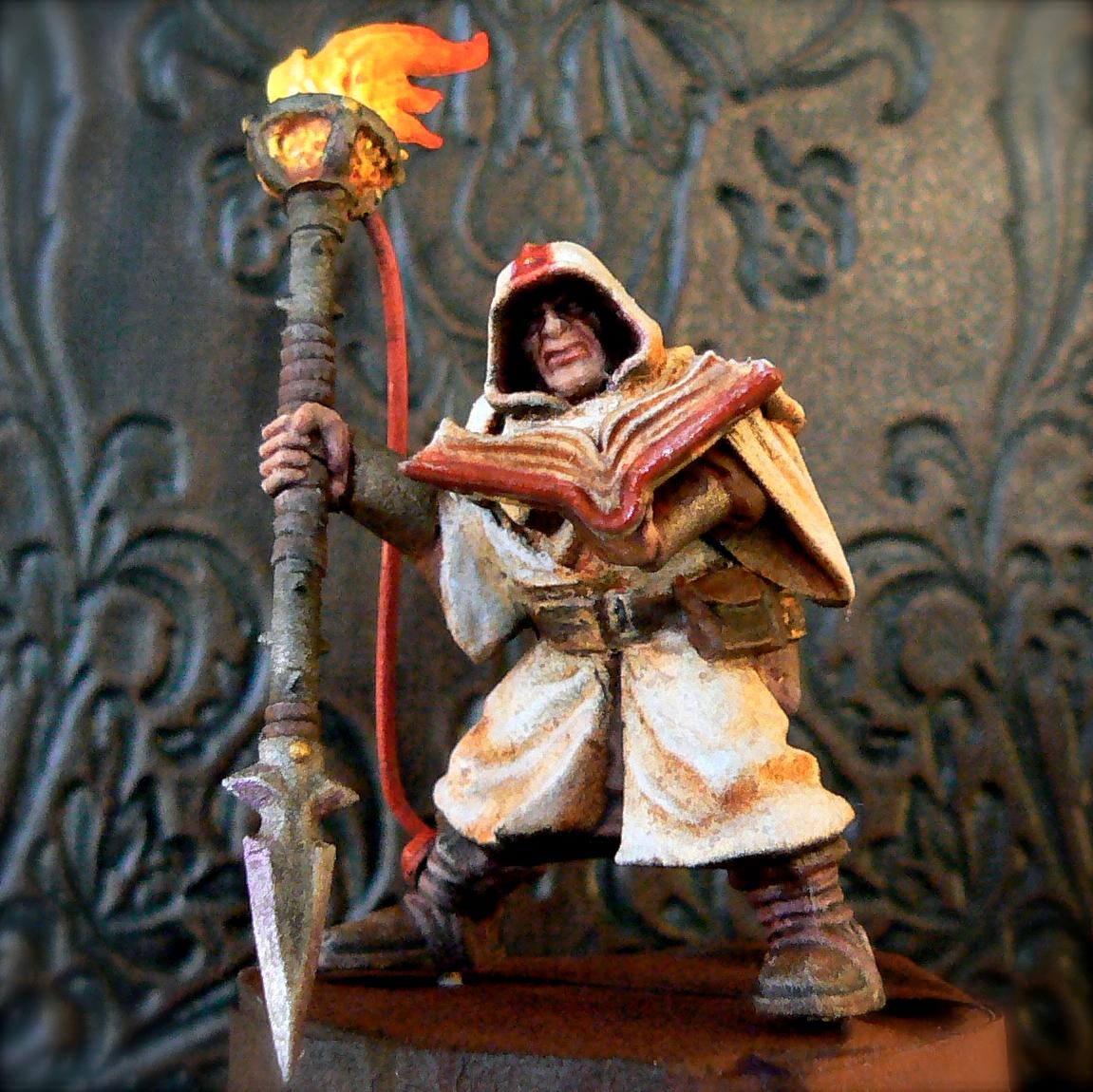 Book, Flames, Hood, Inquisitor