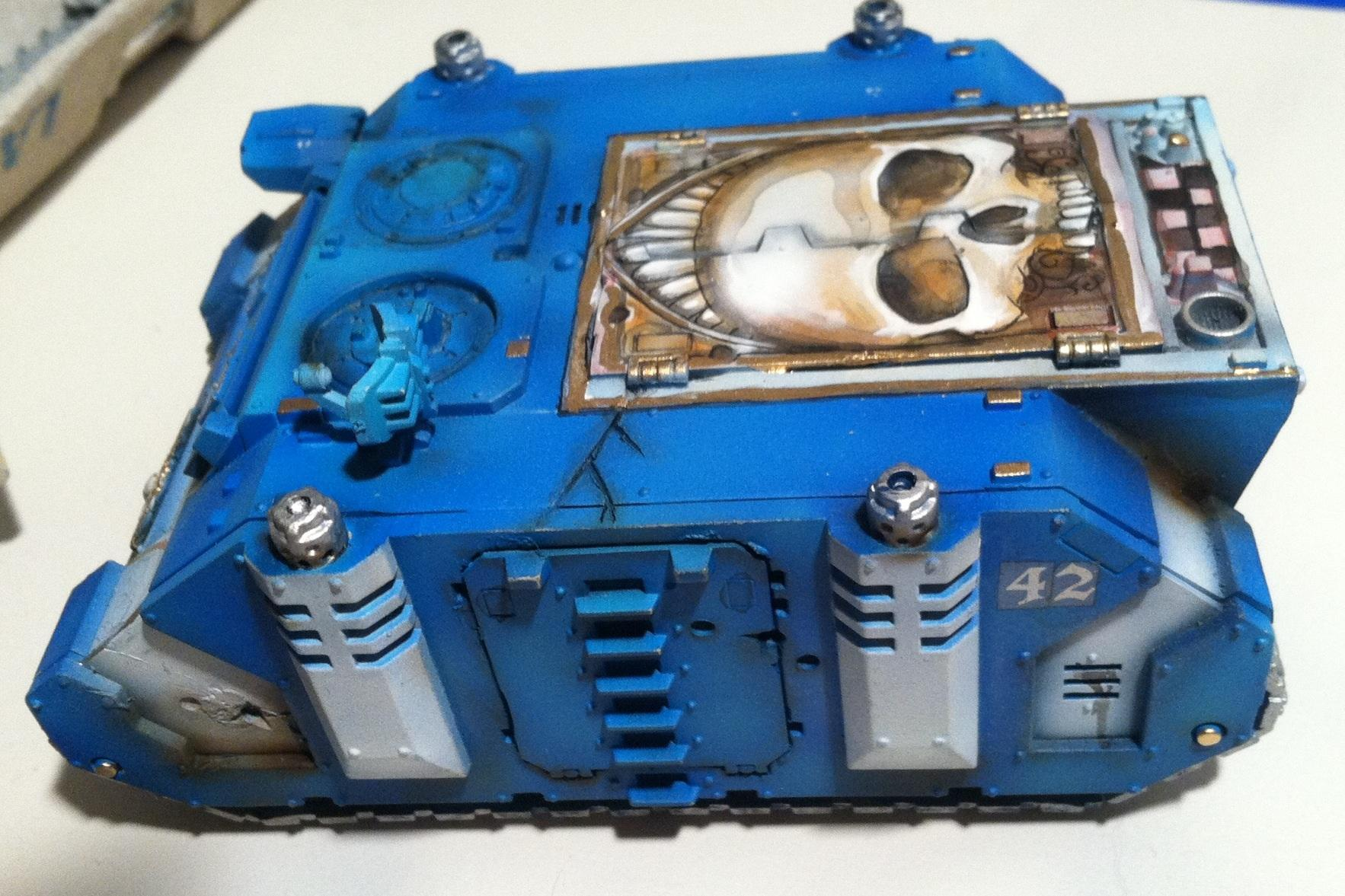 Airbrushed, Mural, Space Marines, Tank, Ultra Marines