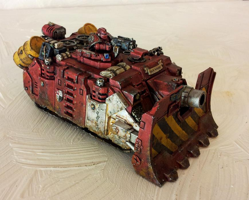 Red, Space Marines, Stripes, Tank, Vindicator, Weathered