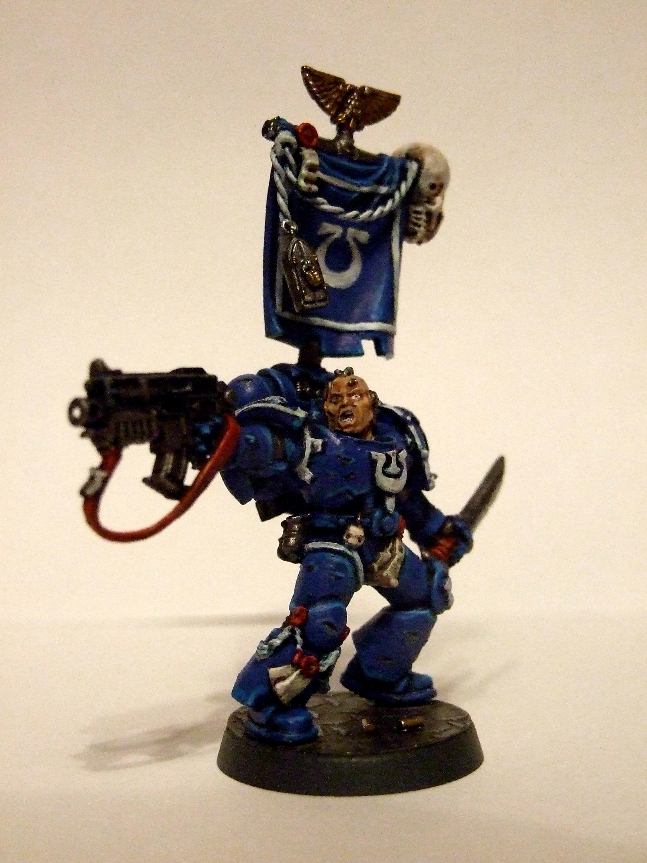 Banner, Battle Brother, Battle Damage, Bolter, Imperial, Seargent, Skull, Space Marines, Tyrannic War, Ultramarines, Veteran, Warhammer 40,000