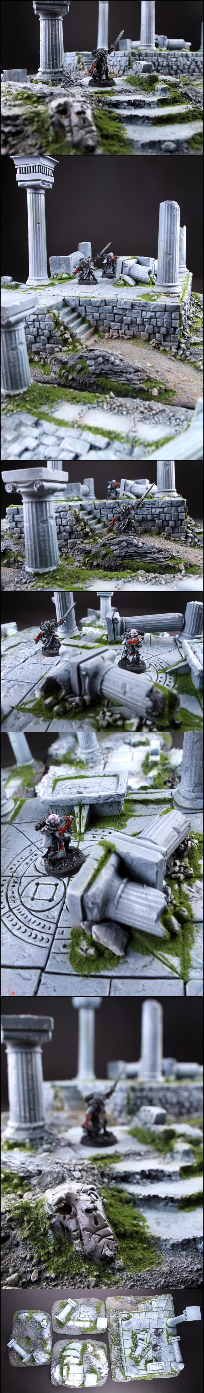 Ruin, Temple, Temple Ruin Scenery Terrain For 28mm Wargame Like 40k Dust At-43, Terrain