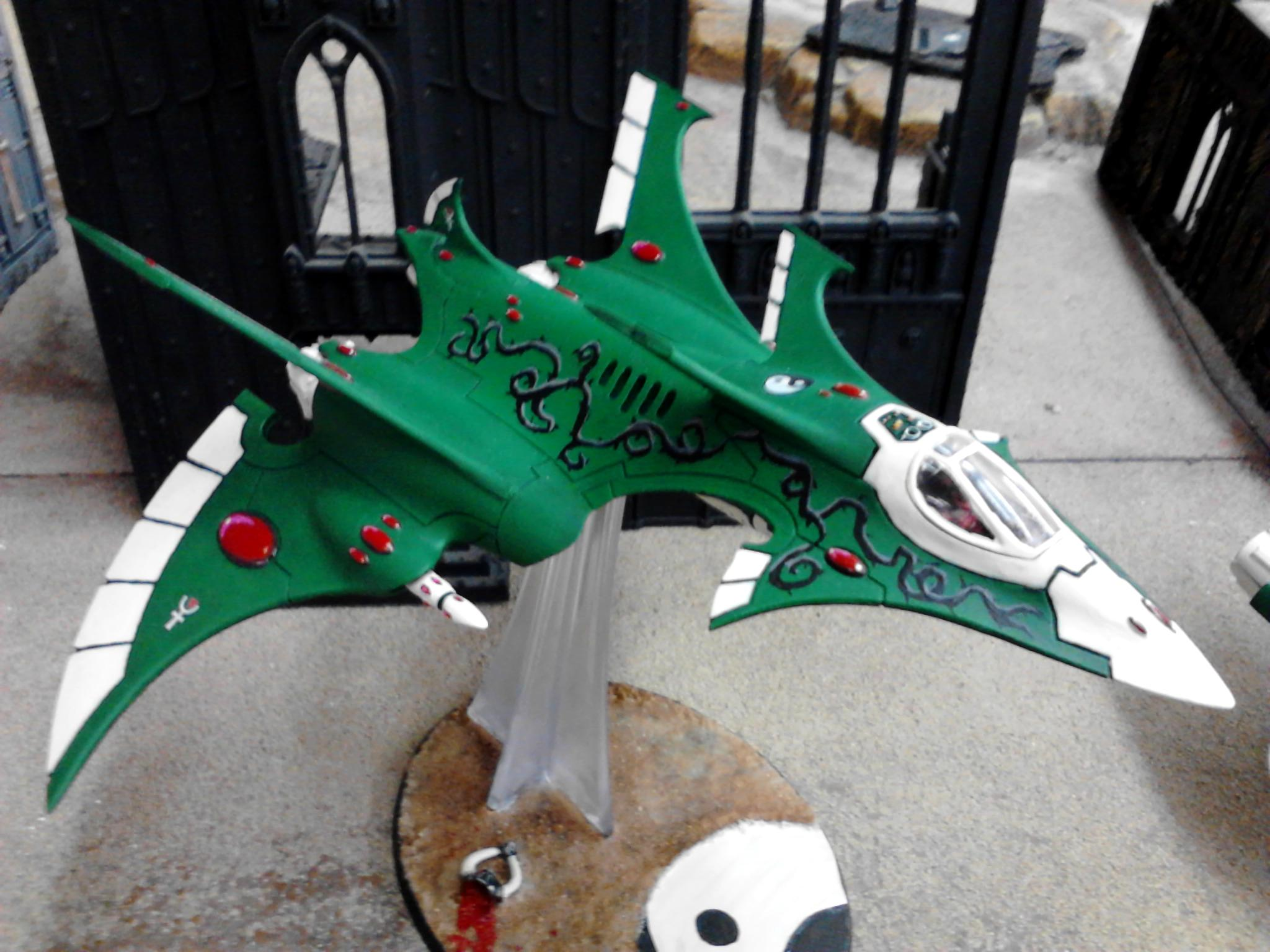 Biel Tan, Crimson Hunter, Eldar, Flyer, Green, Plane, Thorns, Yin Yang