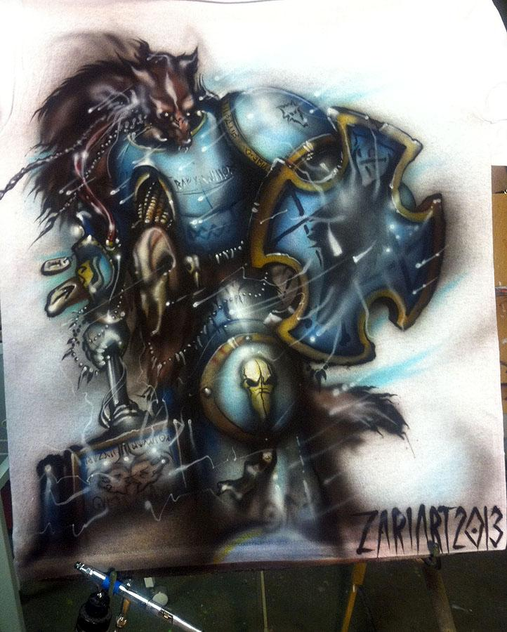 Custom Airbrushed, Shirt, Snow, Space Wolves, Storm Shield And Hammer, Wolf Pelt