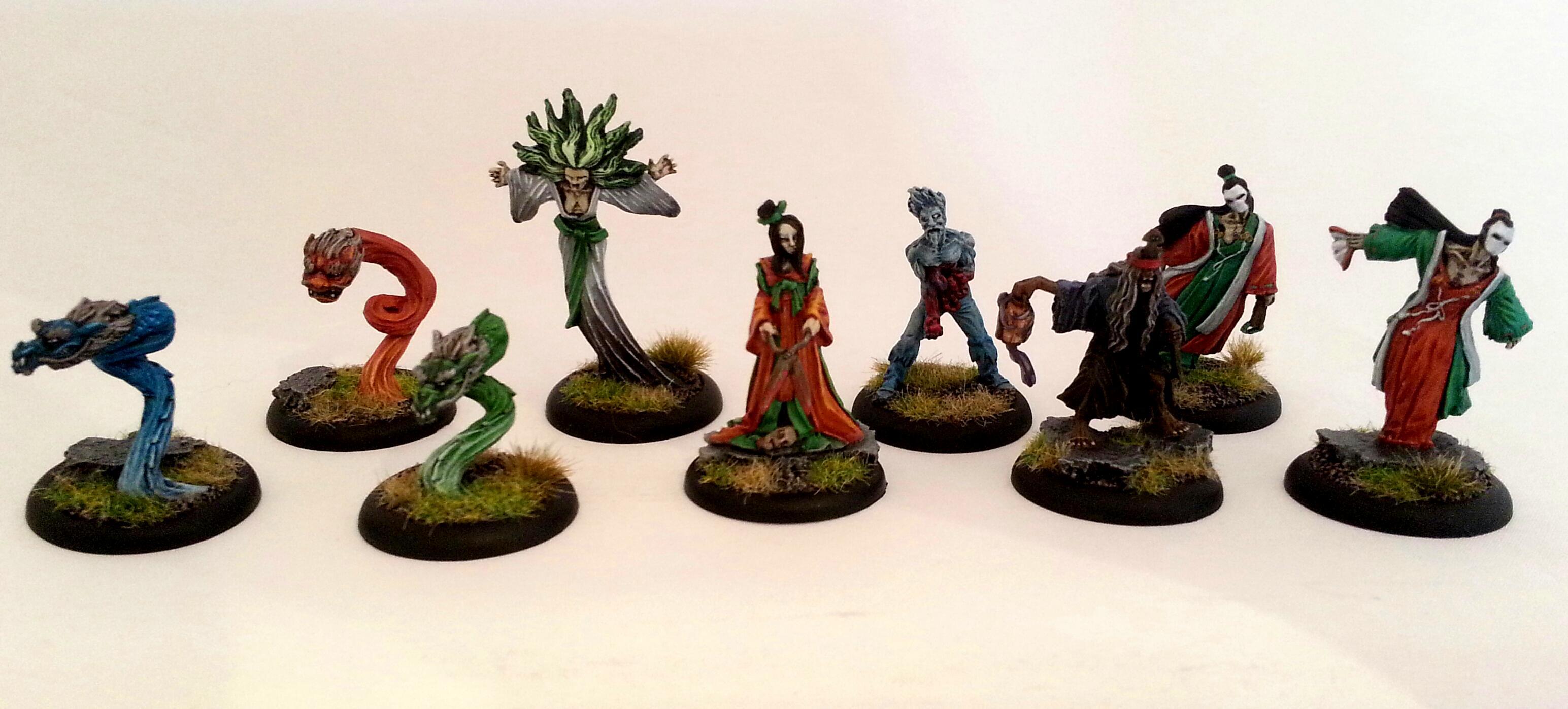 Avatar, Crew, Kirai, Malifaux, Mcmourning, Minions, Molly, Nicodem, Resurrectionists, Seamus, Spirits, Totems, Undead