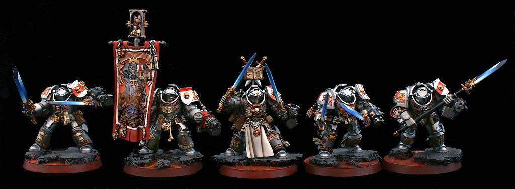 Base, Command Squad, Gray Knights, Grey Knights, Terminator Armor