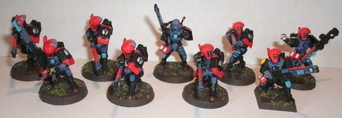 Based, Blue, Fire Warriors, Painted, Red, Tau, Team, Trooper, Troops