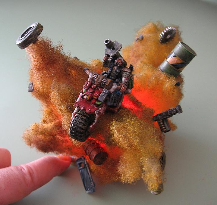 28mm, Awesome, Bike, Custom, Explosion, Fire, Missiile Launcher, Painted, Space Marines, Warhammer 40,000