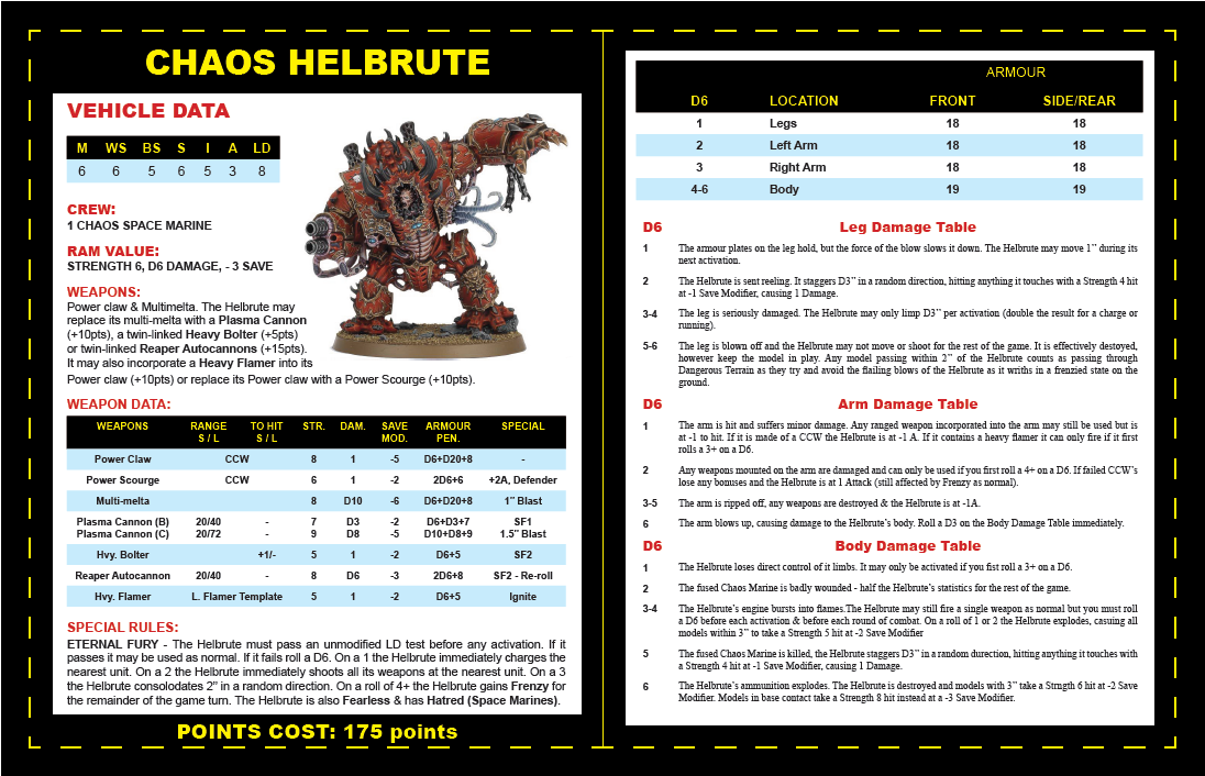 2nd Edition, Chaos Space Marines, Datafax, Helbrute, Logo, Warhammer 40,000