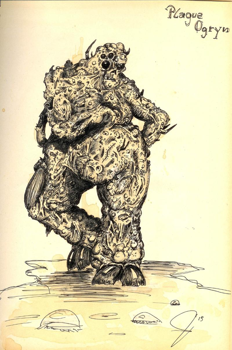 Artwork, Chaos, Chaos Space Marines, Drawing, Gk, Great, Guo, Librarian, Nurgle, Old, School, Space Marines, Style, Unclean