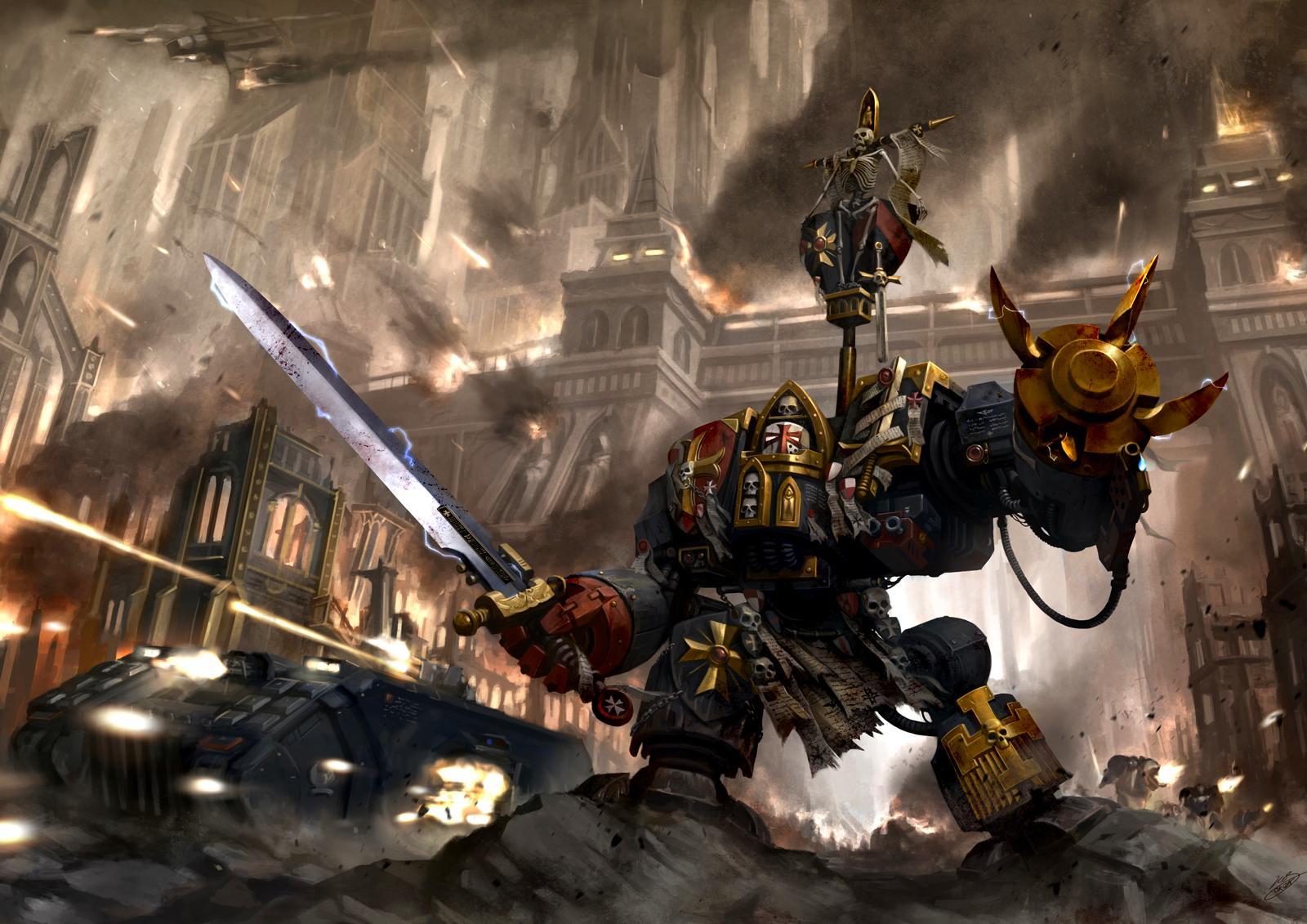 Artwork, Black Templars, Dreadnought, Landraider Crusader, Space Marines, Warhammer 40,000