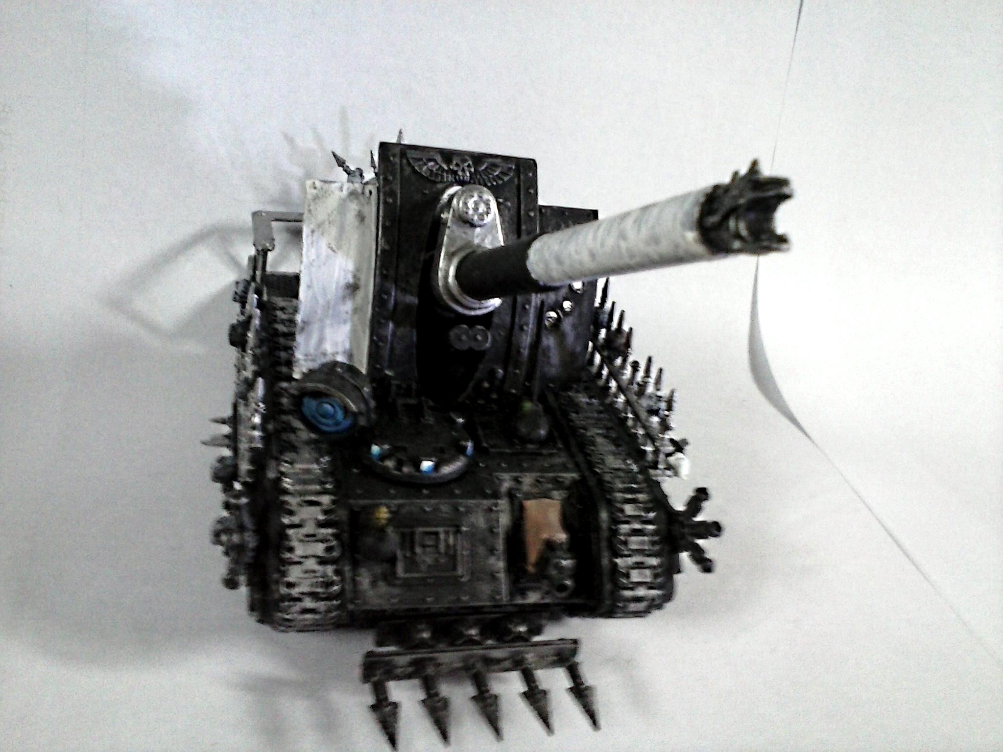 Artillery, Basilisk, Black, Chaos, Conversion, Earthshaker, Heavy Bolter, Looted, Silver, Spiky, Talons, Tank, Warband, Weathered